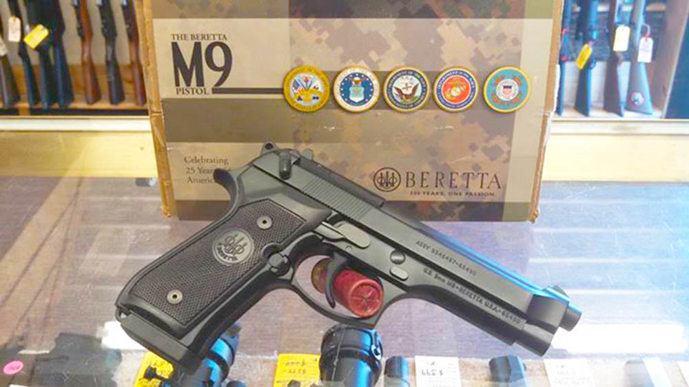 Beretta M9 pistol. In like new condition. M9 - Ultimate Combat Pistol and World Defender. MSRP $675 Sale priced at $475. Stop by.
