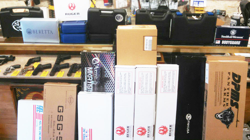 IN STOCK- We just received 30 new long guns and handguns. COLT, DPMS, FN, RUGER, KEL TEC, GSG, SMITH & WESSON, SPRINGFIELD ARMORY, BERETTA, TAURUS, STI INTERNATIONAL, WALTHER ...and many more. We are getting them unboxed now!
