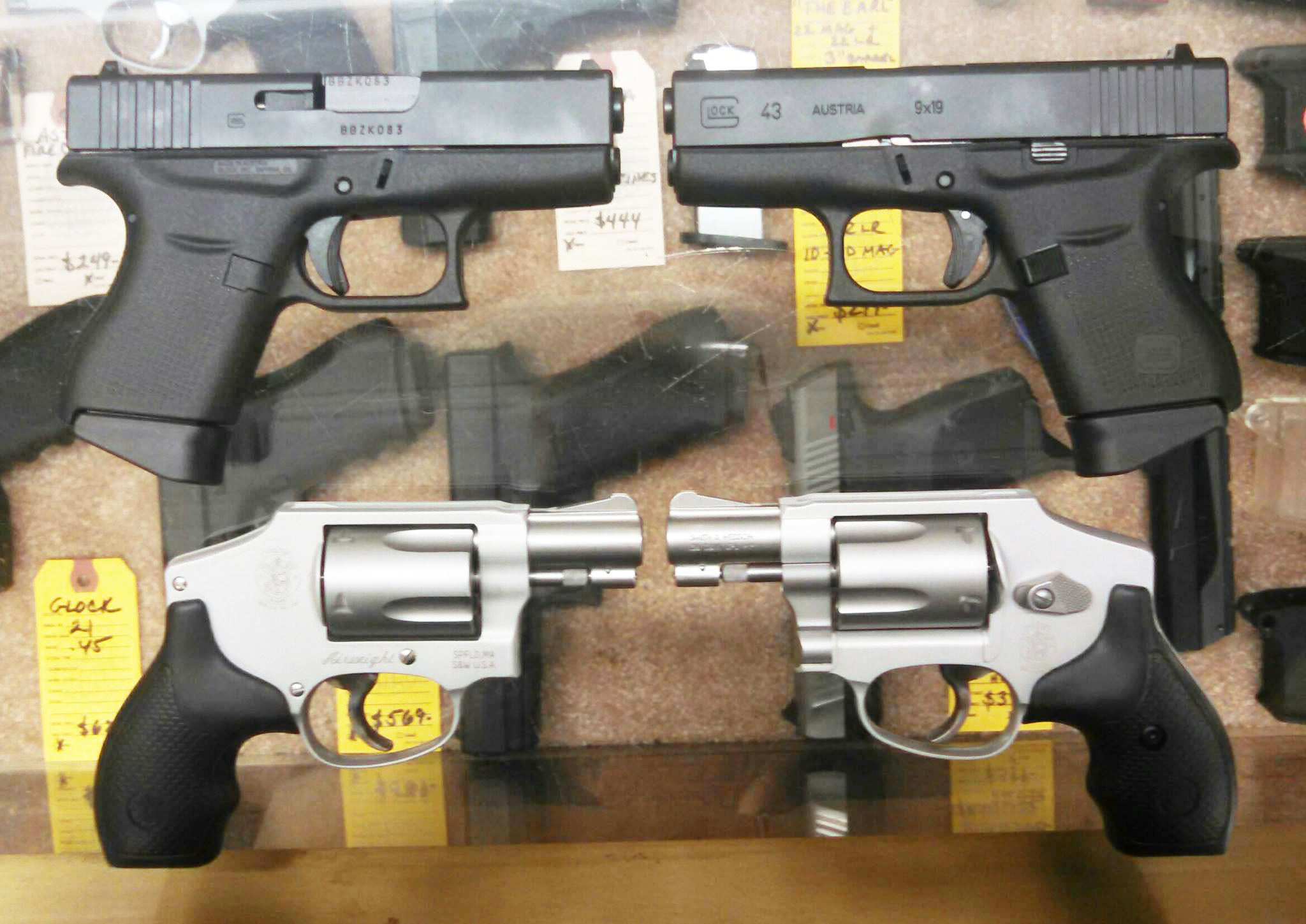 IN STOCK- GLOCK 43 9MM & SMITH & WESSON 642 .38 SPL. The Glock G43 is our new single stack, 9mm pistol. The G43 is the most highly desired and anticipated release in GLOCKs history. The G43 is the answer to your everyday concealed carry needs
