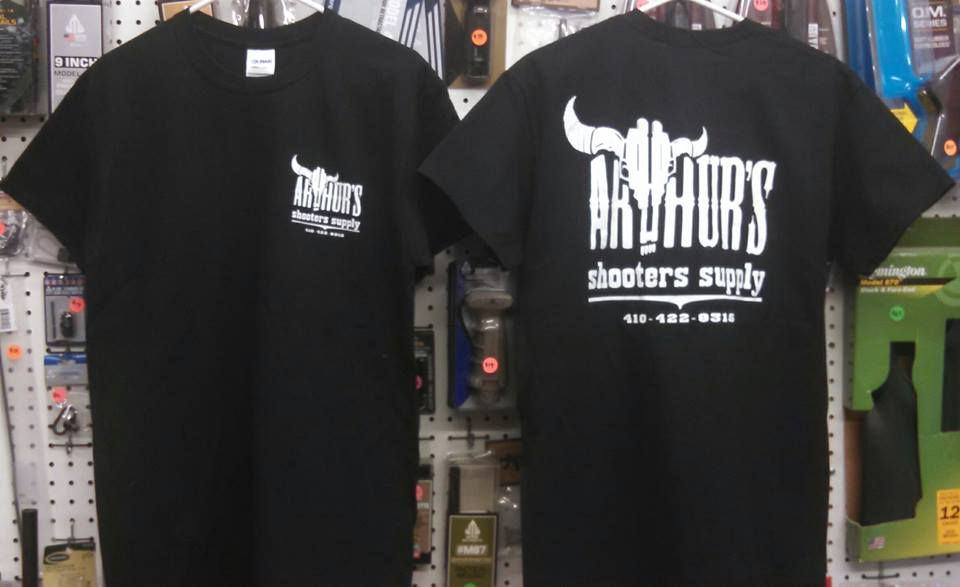 $10 Arthur's Shooters Supply short sleeve 100% cotton T-shirts are back !! We have just received a big new batch of shirts. Men and ladies styles are availabe. Small, medium, large, XL, XXL & XXXL. If you can't make it to the shop, a flat rate of $9 shipping will deliver as many shirts as you need directly to your front door ! Stop by or give us a call. Thanks and stay safe